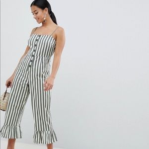 Asos Petite Cotton Frill Jumpsuit in Striped